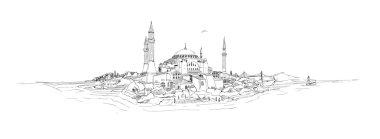 WebVector kroki çizim panoramik Ayasofya sophia istanbul