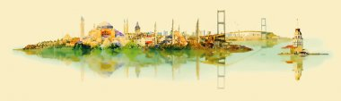 vector water color illustration panoramic istanbul view