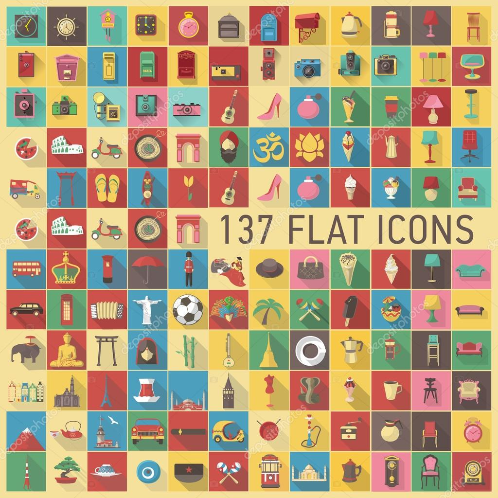 137 flat travel and culture icon