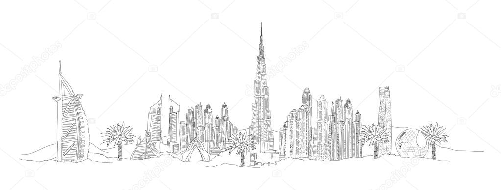 Dubai city sketch stock vector