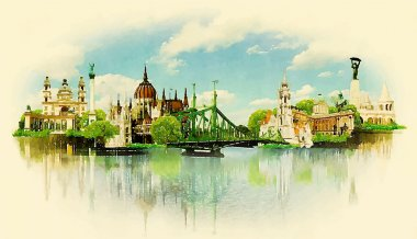 Watercolor illustration BUDAPEST view clip art vector