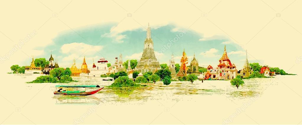 water color vector panoramic BANGKOK view