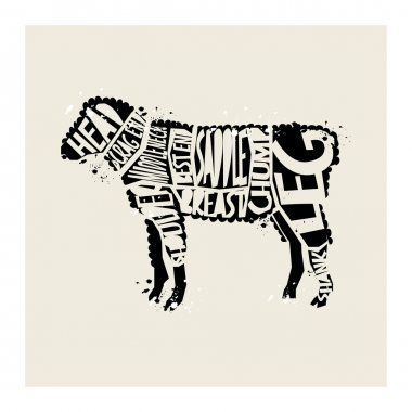 hipster style typographic vectorLamb Meat Diagram
