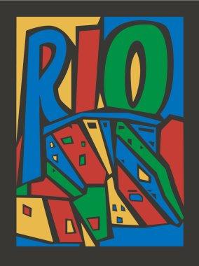 Typographic vector touristic hand drawn rio city poster clip art vector