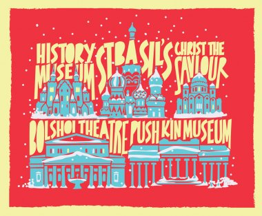typographic vector touristic hand drawn moscow city poster