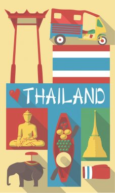 Retro Drawing of Thailand Thailand Bangkok Cultural Symbols on a