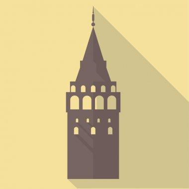 Vector illustration long shadow flat icon of galata tower - ista