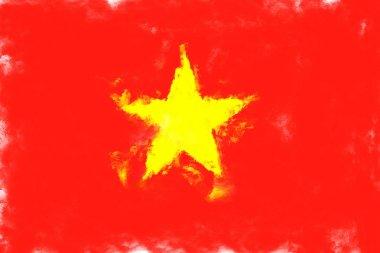 oil painting grunge effected illustration of vietnam flag