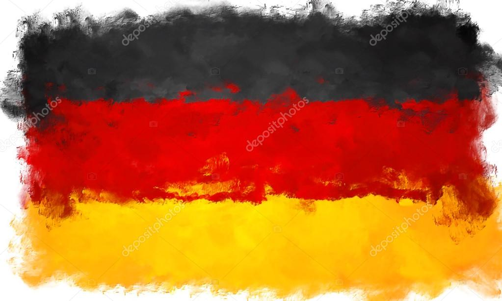 Yağlı Boya Grunge Almanya Bayrağı çizimi Etkilenir Stok Foto