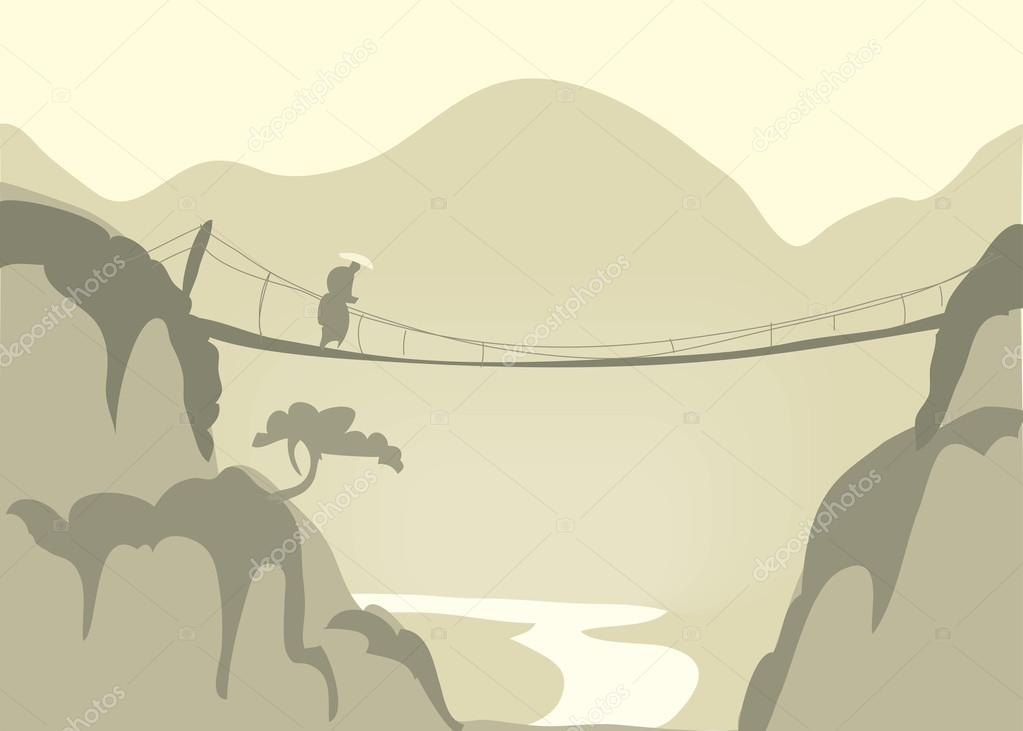 Canyon with a rope bridge