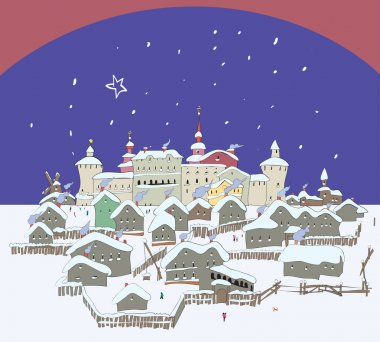 Small old Russian town in winter. Vector