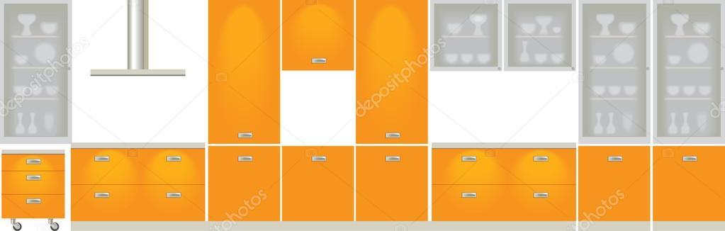 Disposizione schematica dei mobili per cucina — Vettoriali Stock ...