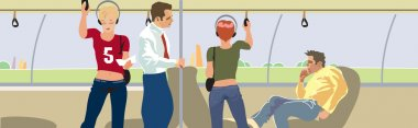 Salon bus passengers. Vector