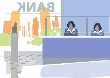 Bank office interior. Vector