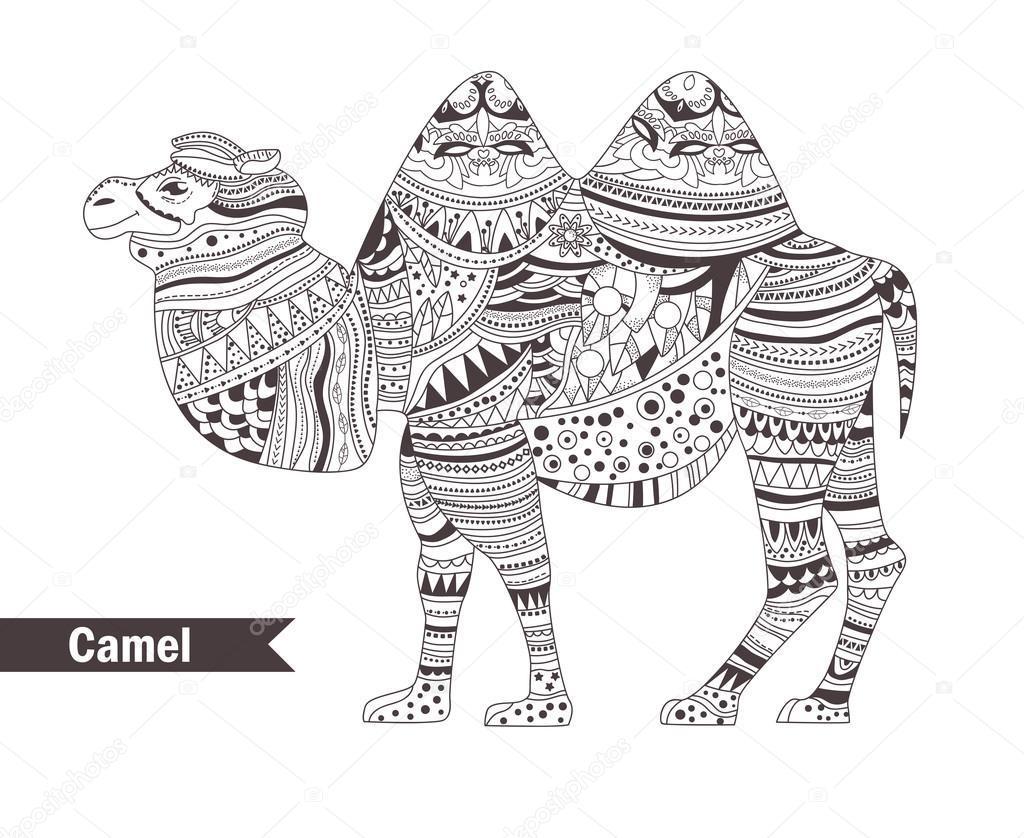 Camello. libro para colorear — Vector de stock © AnnaViolet #113539028