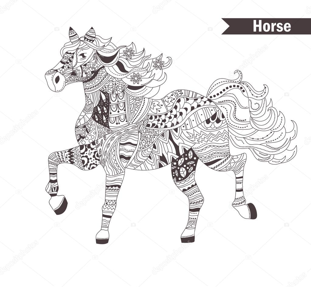 Horse. coloring book for adult — Stock Vector © AnnaViolet #113539056