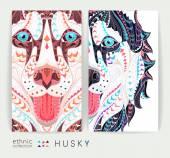 Fotografie Set Karten mit gemusterten Köpfe des Hundes Husky