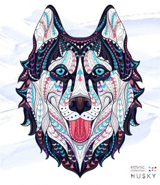 Patterned head of the dog husky