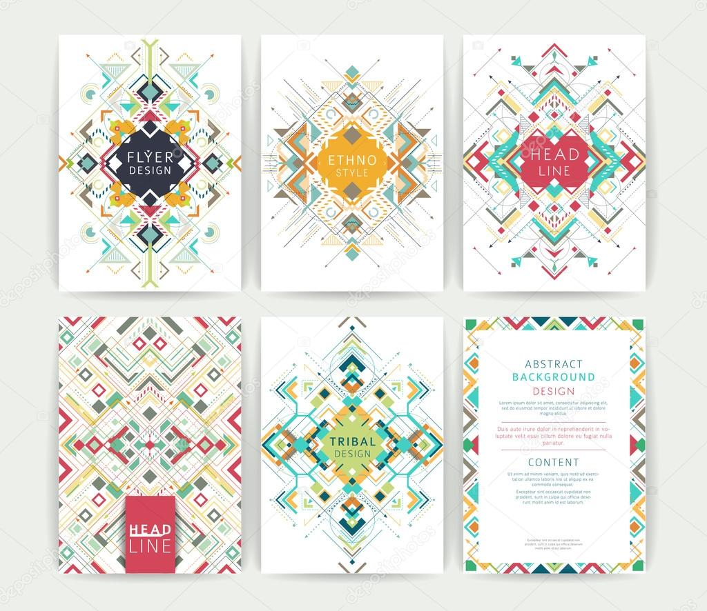 Set of geometric abstract colorful flyers