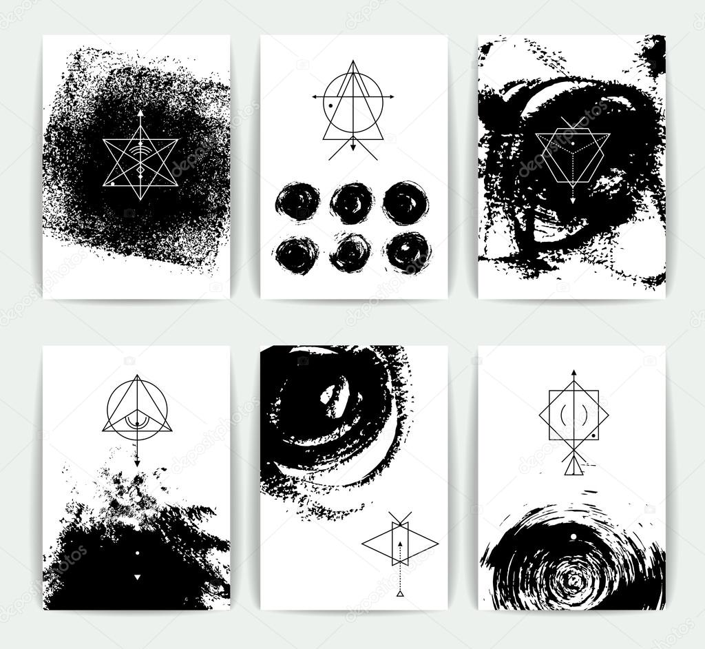 Geometric alchemy symbols stock vector maverickinanta 100455532 geometric alchemy symbols with inspired phrases abstract occult and mystic signs business card templates line hipster logotypes vector by reheart Images