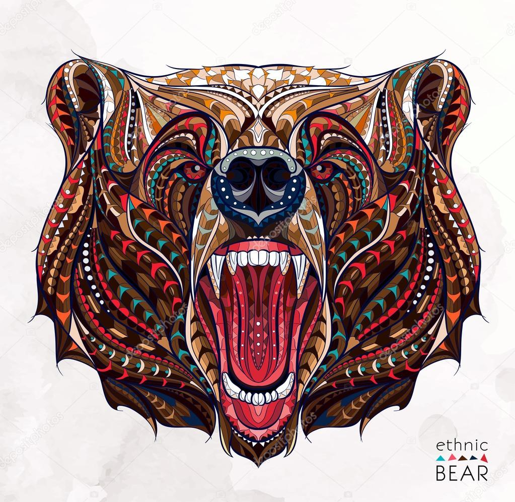 Patterned head of the growling bear