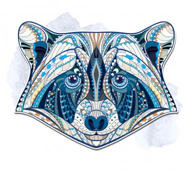 Ethnic patterned head of raccoon