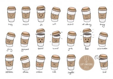 Set of cups emotions