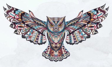 Patterned owl on the grunge watercolor background