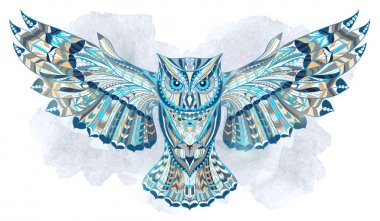 Patterned owl on the grunge watercolor background. African indian totem tattoo design. It may be used for design of a t-shirt, bag, postcard, a poster and so on. clip art vector