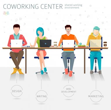 People working in the open space office