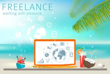 Freelance concept with Laptop on the beach