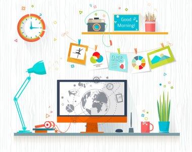 Work place of designer-illustrator