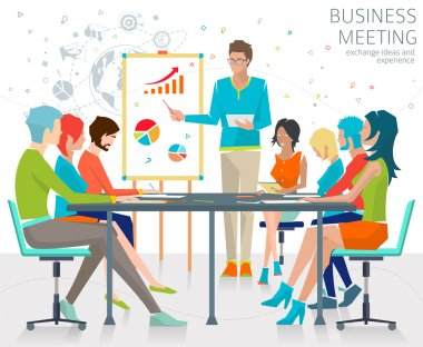 Exchange ideas and experience on business meeting