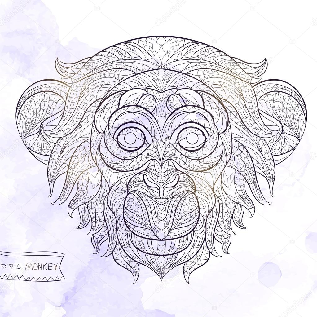 Patterned head of the monkey