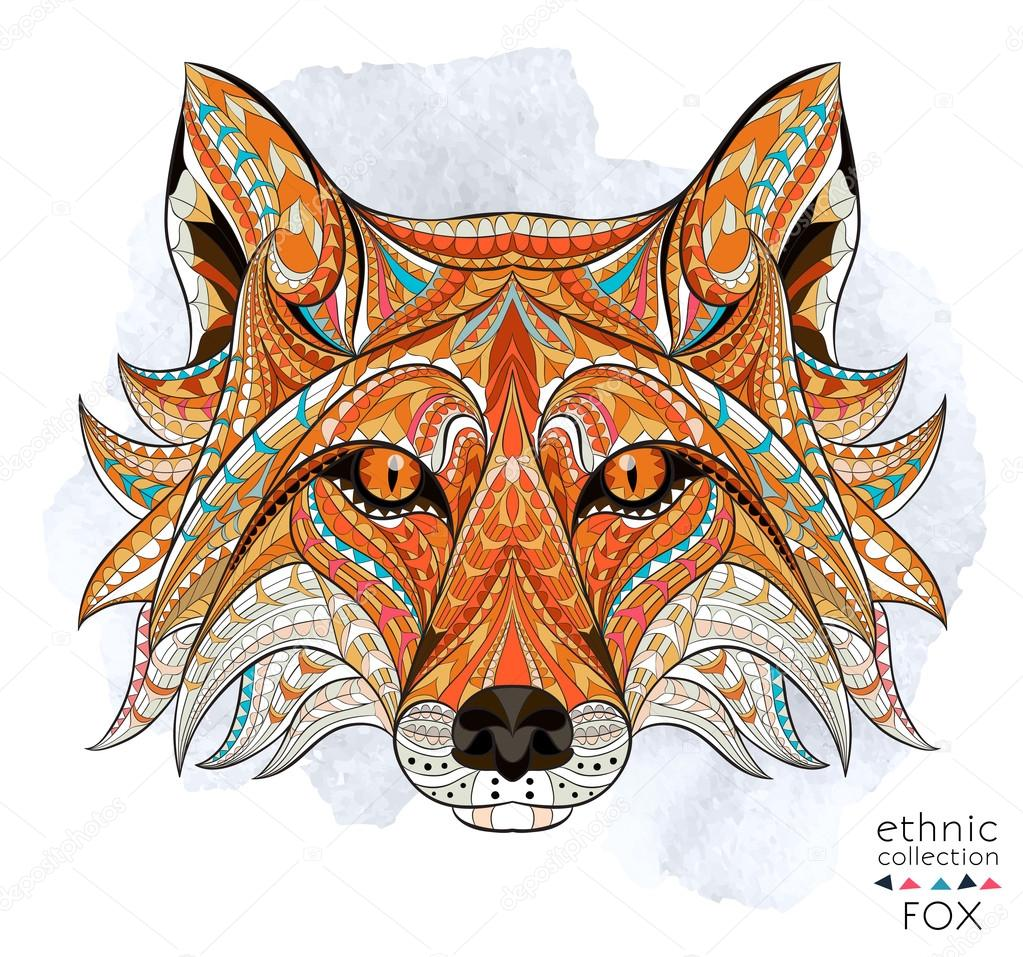 Patterned head of the red fox