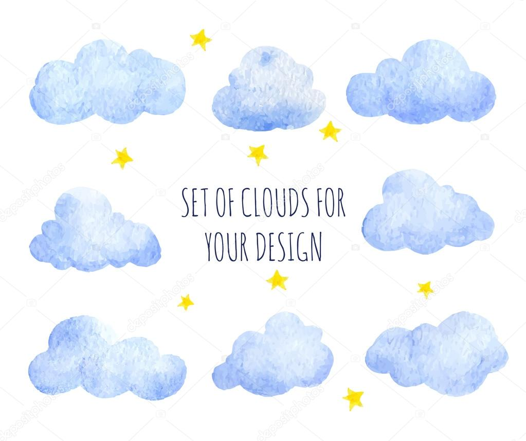 Set of watercolor clouds
