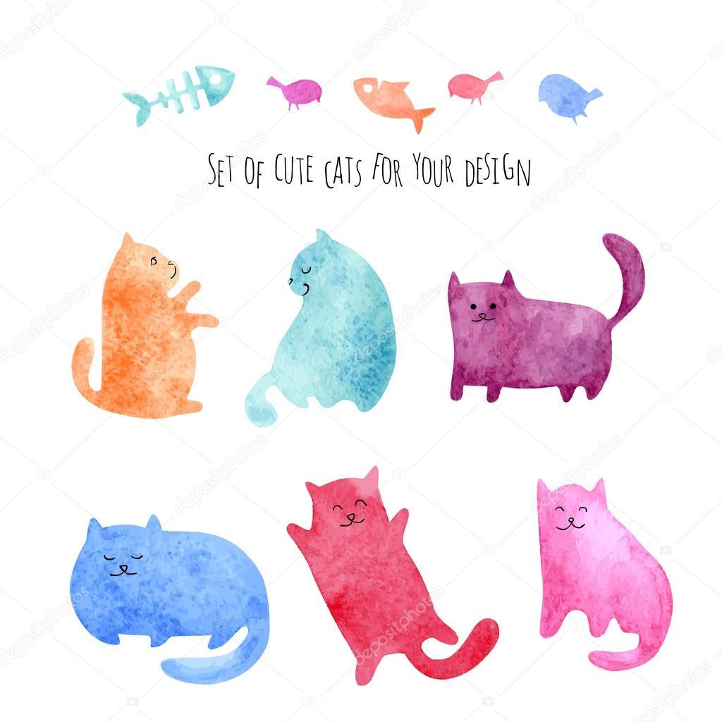 Watercolor set of cute cats