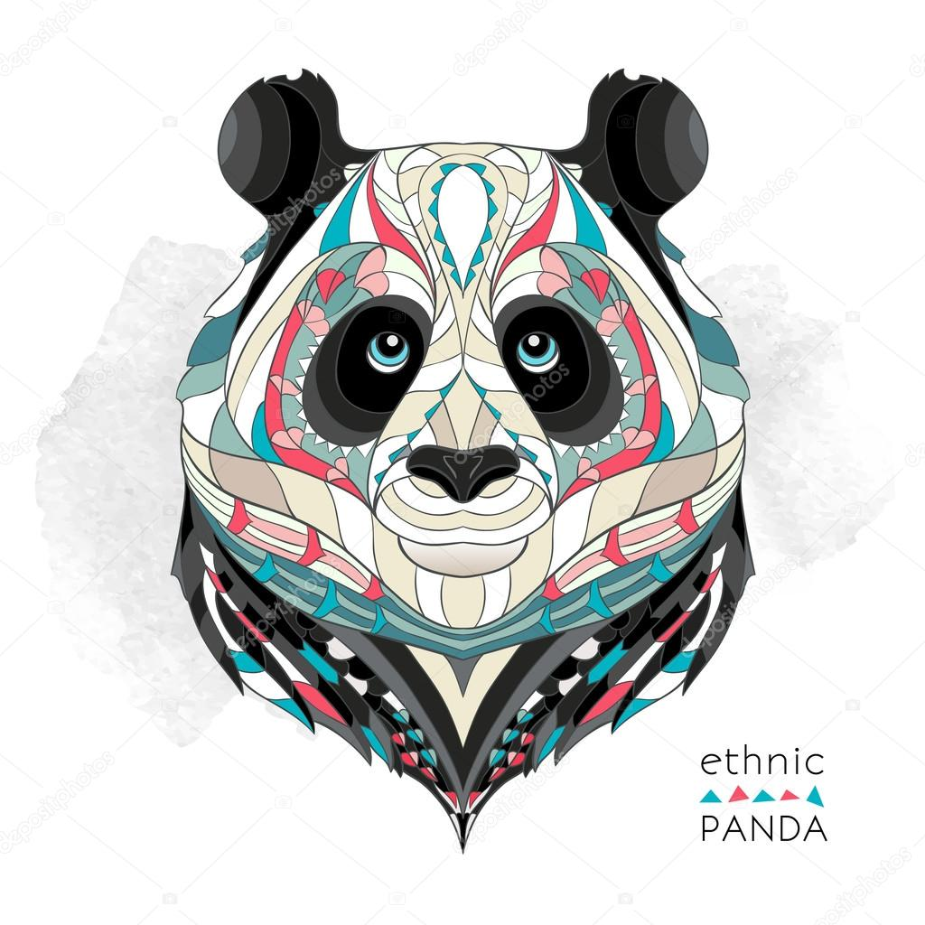 Patterned head of the panda