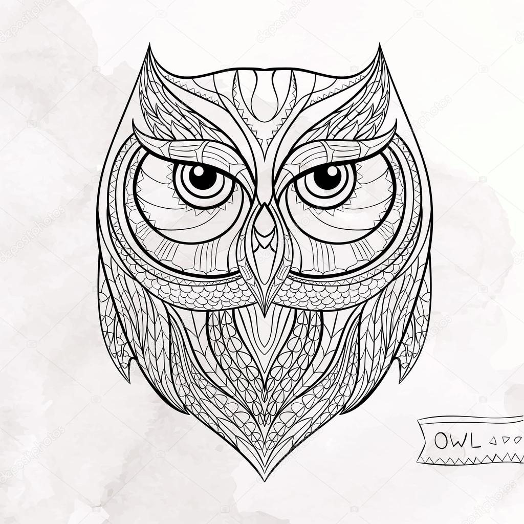 Patterned owl on the grunge background