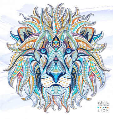 Patterned head of the lion on the grunge background. African, indian, totem, tattoo design. stock vector