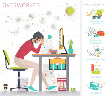 Concept of overworked office man.