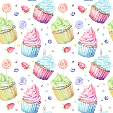 watercolor pattern with cupcakes.