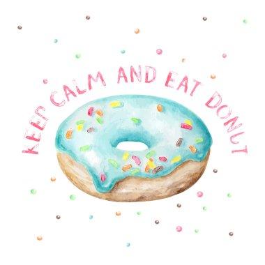 sweet blue donut wish card