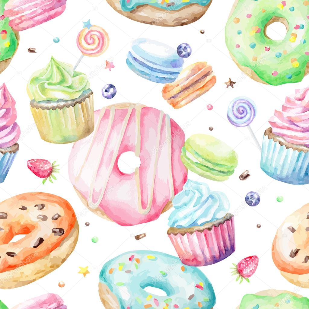 watercolor sweet pastry pattern