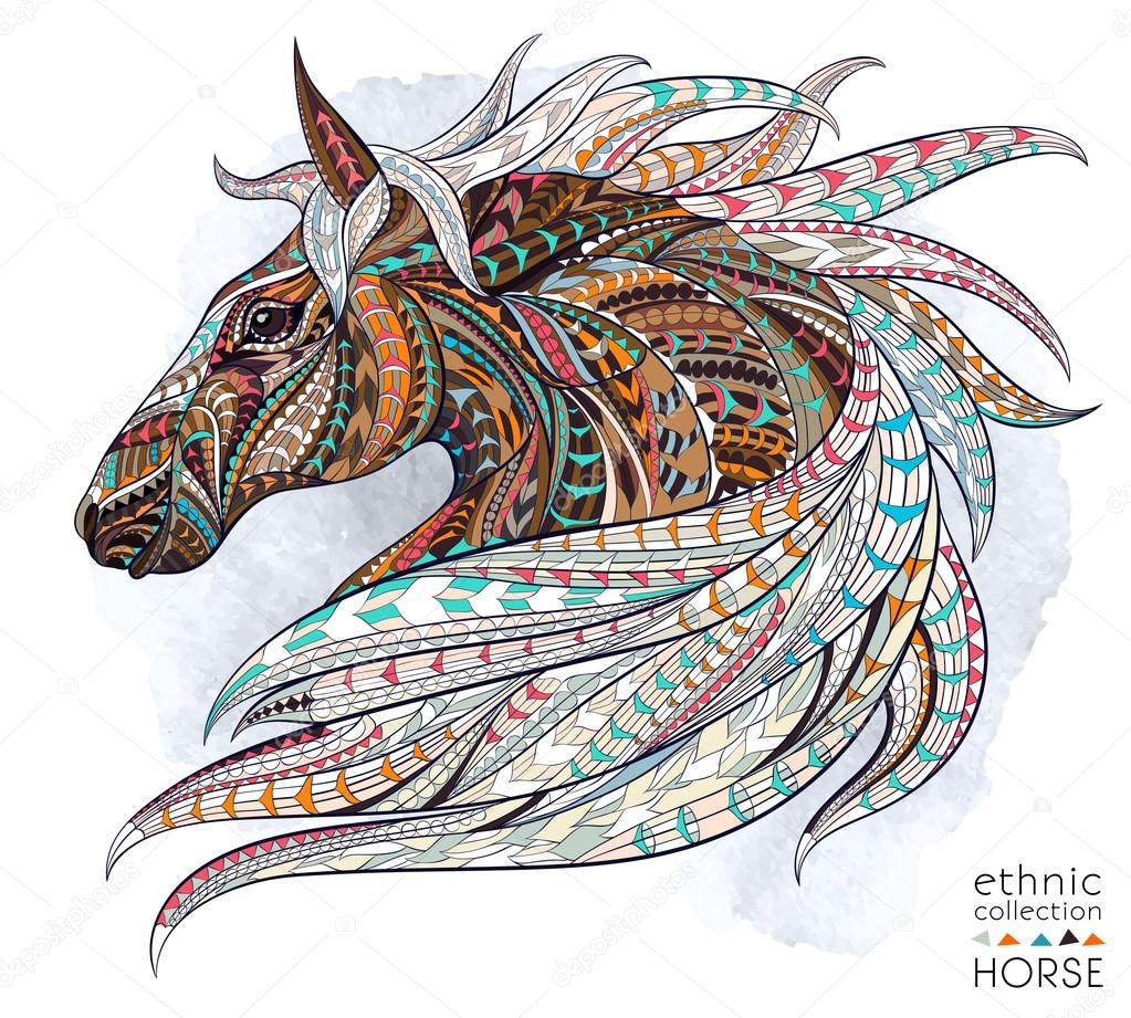 abstract ethnic horse head