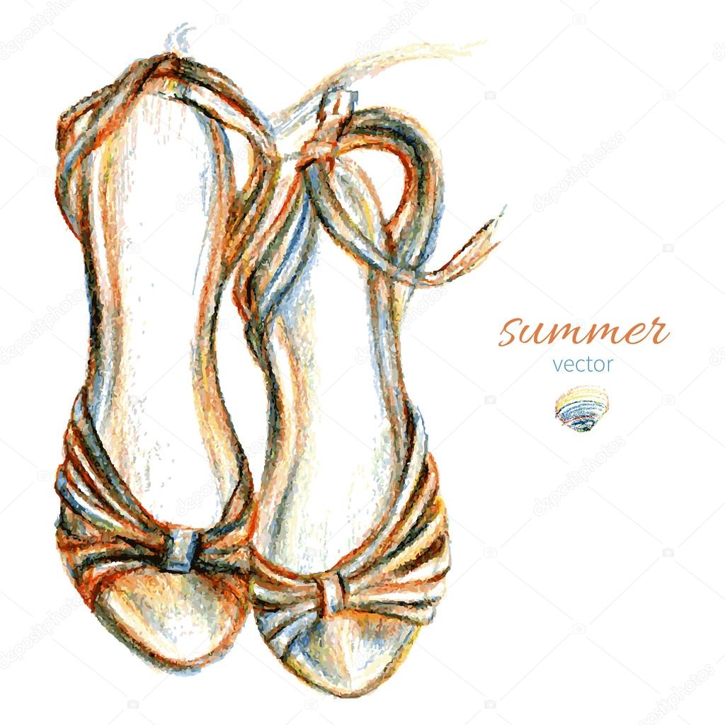 Elegant sketched womans shoe isolated on white backgrond, Summer sandal, Hand drawn vector illustration, Design template for label, banner, postcard, logo, print