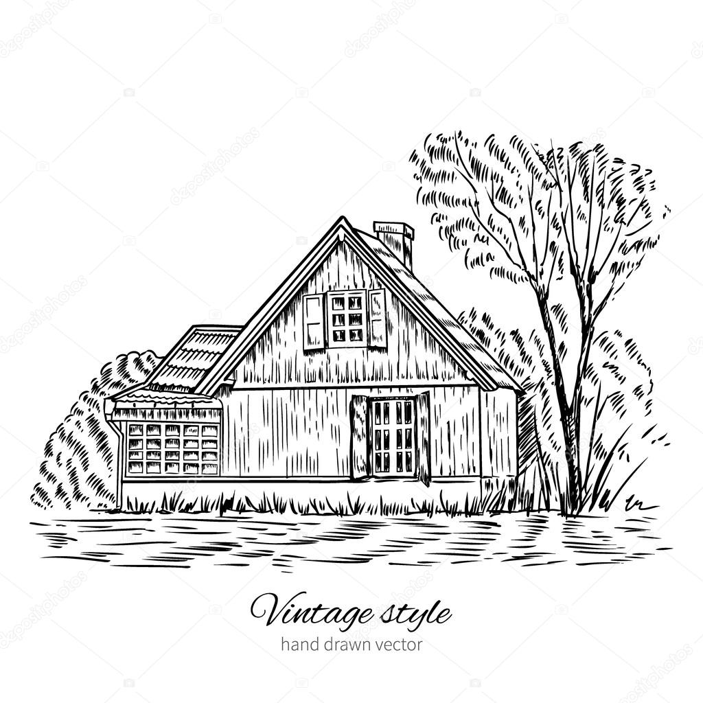 Vintage Vector Sketch Old European Wooden House Isolated On White Historical Building Sketchy Line Art Rural Landscape With Farmhouse And Garden