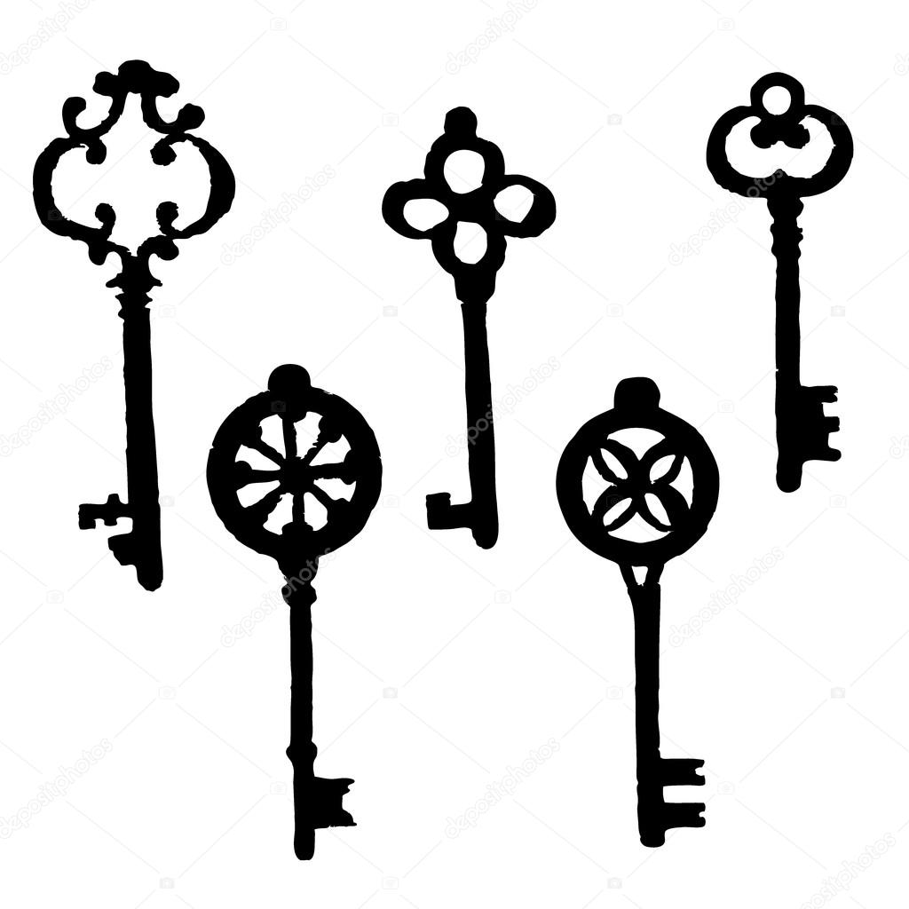 Set Of Different Silhouette Key Hand Drawn Doodle Vector