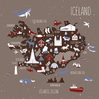 Cartoon map of Iceland, Nordic country geographic wallpaper, Icelandic landmark, animal, food national symbol, clothes vector cute illustration decorative poster, flat style for travel design and kids icon