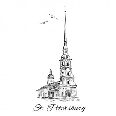 St. Petersburg landmark, Russia. Peter and Paul Fortress in St. Petersburg. Vector sketch with space for your text isolated on white background. clip art vector